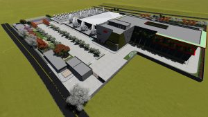 Implantação do prédio no terreno de 33 km²